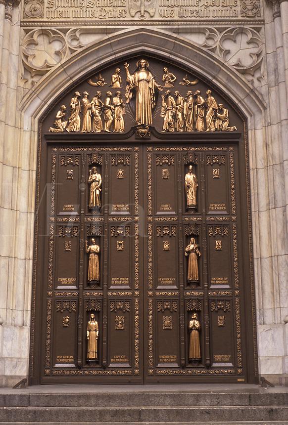 AJ3488, New York City, Saint Patrick's Cathedral, Manhattan, church, New York, NYC, N.Y.C., The ornate front doors of St. Patrick's Cathedral in Midtown Manhattan in New York City in the state of New York.