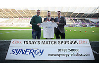 Lee Trundle with match sponsors during the Premier League match between Swansea City and West Ham United at The Liberty Stadium, Swansea, Wales, UK. Monday 26 December 2016