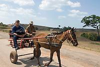 Cuba, Pferdewagen bei  Puerto Esperanza