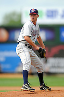 Hudson Valley Renegades pitcher Jordan Harrison #44 during a game versus the Lowell Spinners at LeLacheur Park in Lowell, Massachusetts on August 19, 2012. (Ken Babbitt/Four Seam Images)