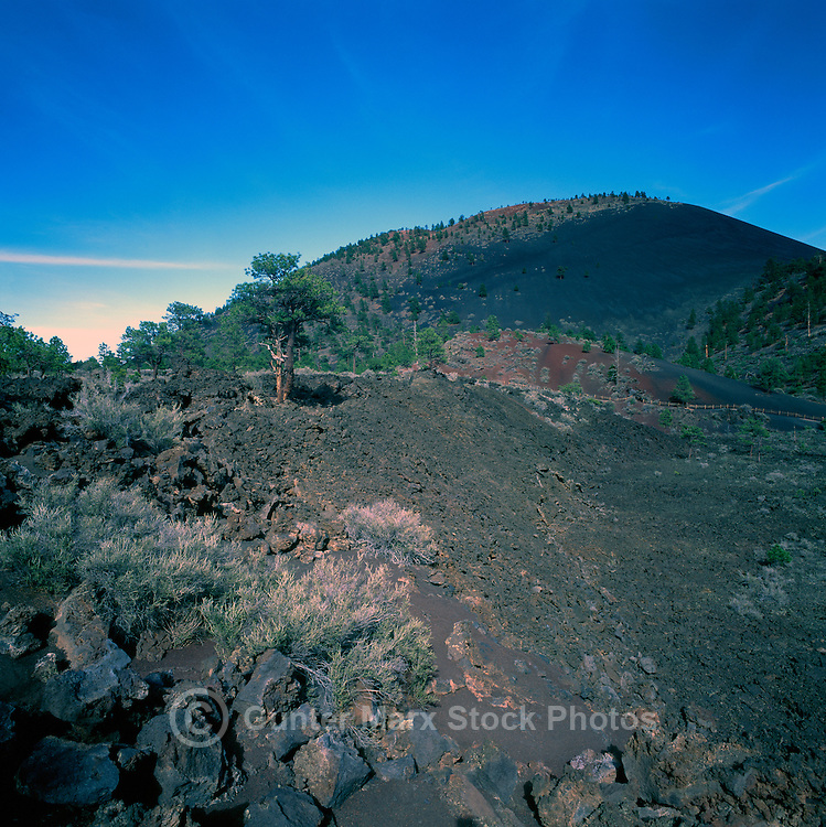 Sunset Crater and Hardened Lava Flow in Sunset Crater Volcano National Monument, near Flagstaff, Arizona, USA