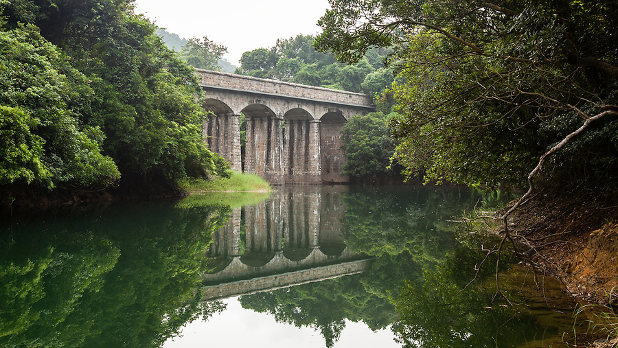 The first masonry bridge on the Tai Tam Tuk Reservoir (moving down the trail), Tai Tam Group of Reservoirs.<br />
