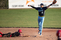 Brett Barrera (16) of the Kalamazoo Growlers leaps for a throw at second base against the Battle Creek Bombers during Northwoods League action at Homer Stryker Field on July 3rd, 2020 in Kalamazoo, Michigan. Barrera plays college baseball at Stanford University. The Bombers defeated the Growlers 2-0. (Andrew Woolley/Four Seam Images)