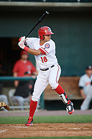 Harrisburg Senators left fielder Mario Lisson (18) at bat during a game against the Bowie Baysox on May 16, 2017 at FNB Field in Harrisburg, Pennsylvania.  Bowie defeated Harrisburg 6-4.  (Mike Janes/Four Seam Images)