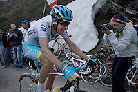 Fabio Aru (ITA/Astana) up the dirt roads of the Colle delle Finestre (2178m)<br /> <br /> Giro d'Italia 2015<br /> stage 20: Saint Vincent - Sestriere (199km)