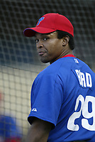 Marlon Byrd of the Philadelphia Phillies during a 2003 season MLB game at Dodger Stadium in Los Angeles, California. (Larry Goren/Four Seam Images)