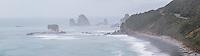 Moody weather on wild coastline near Rapahoe near Greymouth with coastal road on right, West Coast, Buller Region, South Island, New Zealand, NZ