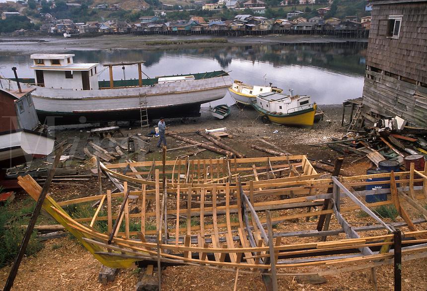 AJ2090, boats, Chile, Chiloe Island, Fishing boats under construction in Castro on Chiloe Island in Chile.