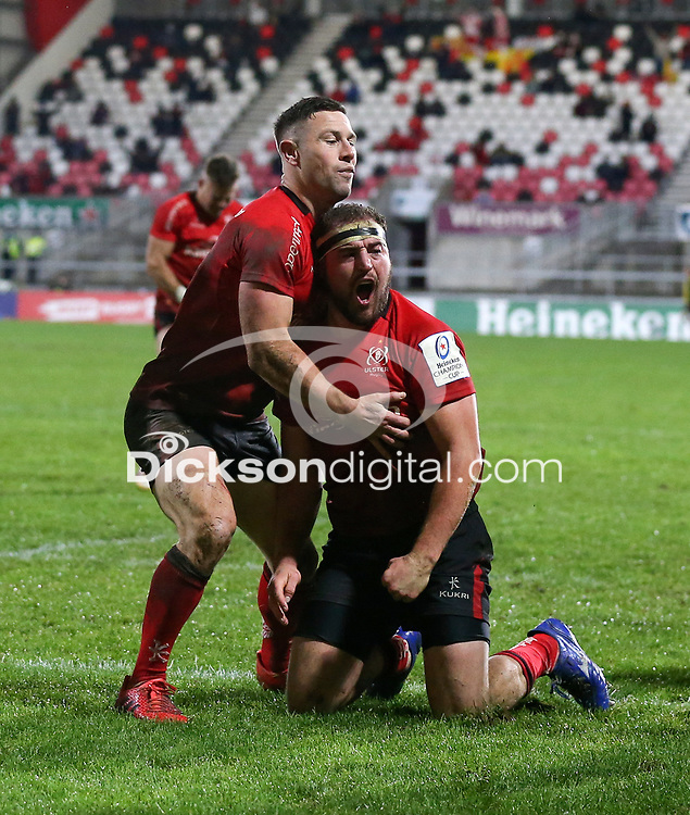 11 December 2020; John Coney congratulates Rob Herring during the Heineken Champions Cup Pool B Round 1 match between Ulster and Toulouse at Kingspan Stadium in Belfast. Photo by John Dickson/Dicksondigital