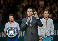 Februari 15, 2015, Netherlands, Rotterdam, Ahoy, ABN AMRO World Tennis Tournament, Final:  Richard Krajicek, tournament director with left winner Stanislas Wawrinka (SUI) right runner up Tomas Berdych (CZE) <br /> Photo: Tennisimages/Henk Koster