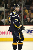 February 17th 2007:  Drew Stafford (21) of the Buffalo Sabres takes a break in the action vs. the Boston Bruins at HSBC Arena in Buffalo, NY.  The Bruins defeated the Sabres 4-3 in a shootout.