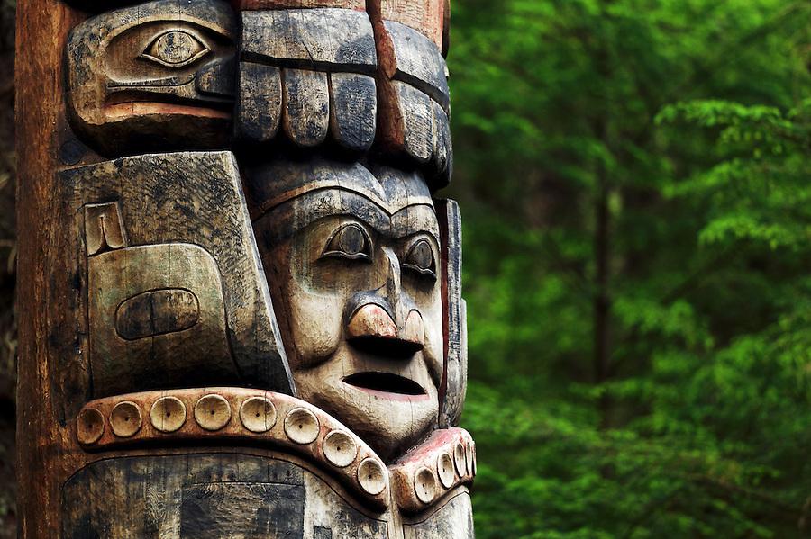 Mosquito Legend Pole, Sitka National Historical Park, Sitka, Alaska, USA