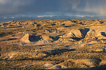 Badlands, sage and Wind River Range. Sublette County, Wyoming. May.