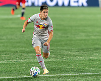 FOXBOROUGH, MA - AUGUST 29: Benjamin Mines #17 of New York Red Bulls looks to pass during a game between New York Red Bulls and New England Revolution at Gillette Stadium on August 29, 2020 in Foxborough, Massachusetts.