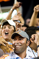 Houston Dynamo part-owner Oscar De La Hoya cheers on the Dynamo with members of El Batallon.  Houston Dynamo tied Seattle Sounders 1-1 on August 23, 2009 at Robertson Stadium in Houston, TX.