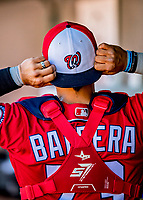 29 February 2020: Washington Nationals catcher Tres Barrera in the dugout during a Spring Training game against the St. Louis Cardinals at Roger Dean Stadium in Jupiter, Florida. The Cardinals defeated the Nationals 6-3 in Grapefruit League play. Mandatory Credit: Ed Wolfstein Photo *** RAW (NEF) Image File Available ***