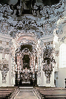 Interior of Wies Church, a pilgrimage church built by the brothers, Dominic and John Baptist Zimmermann, between 1746 and 1754 in the Rococo style and recognized by UNESCO as a World Heritage Site.
