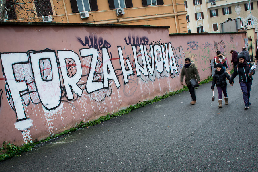 Writings on the wall by the neofascist group Forza Nuova in the Roman San Giovanni neighbourhood.