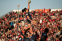 Pari Pari Parkinson takes lineout ball during the 2020 Super Rugby match between the Crusaders and Highlanders at Orangetheory Stadium in Christchurch, New Zealand on Saturday, 9 August 2020. Photo: Joe Johnson / lintottphoto.co.nz