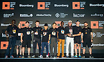Winners receive the prize of the Bloomberg Square Mile Relay race at the Dubai International Financial Centre on 07 February 2018 in Dubai, United Arab Emirates. Photo by Ian Walton / Power Sport Images