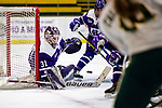 2 February 2020: Holy CrossCrusader Goaltender Jada Brenon, a Sophomore from Pendleton, NY, makes a second period save against the University of Vermont Catamounts at Gutterson Fieldhouse in Burlington, Vermont. Brenon made 51 saves in the game, keeping the Crusaders in the lead for almost the entire game. However, the Lady Cats rallied in the 3rd period to tie the Crusaders 2-2 in NCAA Women's Hockey East play. Mandatory Credit: Ed Wolfstein Photo *** RAW (NEF) Image File Available ***