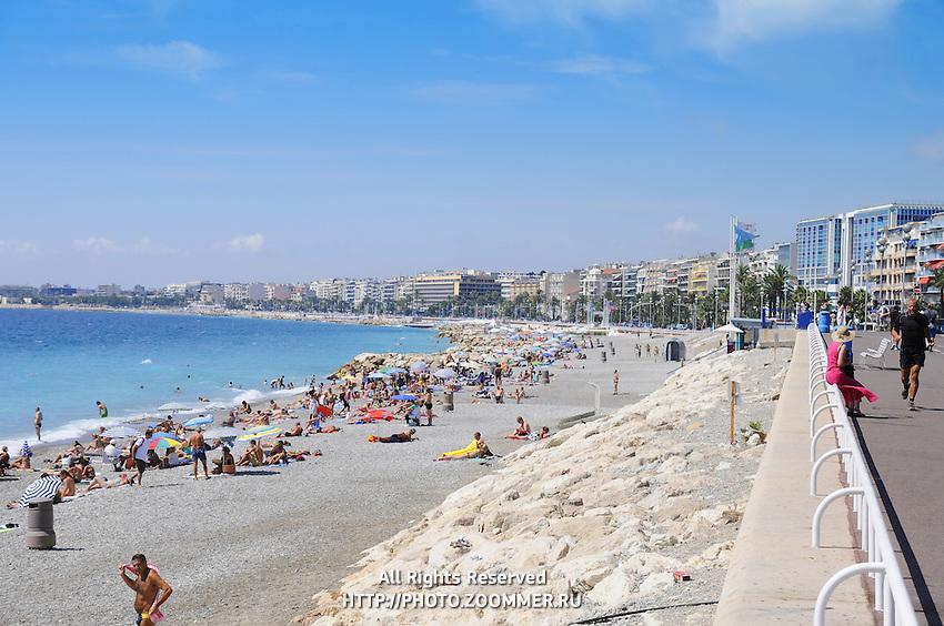 Cote de Azur public beach. Riviera seashore in Nice, France.