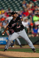 Albuquerque Isotopes pitcher Fernando Nieve #48 delivers a pitch during the Pacific Coast League baseball game against the Round Rock Express on June 2, 2012 at the Dell Diamond in Round Rock, Texas. The Express beat the Isotopes 3-2. (Andrew Woolley/Four Seam Images).