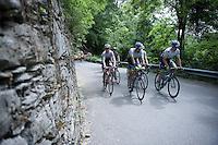 Team Orica-GreenEDGE riders pacing up the Passo Del Mortirolo (1854m) on stage 16: Pinzolo - Aprica (174km) of the 2015 Giro d'Italia