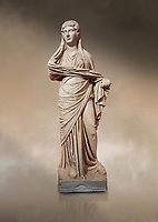 Roman statue of women. Perge. 2nd century AD. inv 3270 . Antalya Archaeology Museum; Turkey. Against a warm art background.