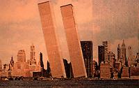 "Utopia:  World Trade Center ""Trade-Offs""--Tilting-on-Hudson.  Postcard by Michael Langenstein in NEW YORK MAGAZINE, July 21, 1975."