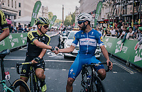a gentlemens pre-race handshake between sprinters Caleb Ewan (AUS/Mitchelton Scott) & Fernando Gaviria (COL/Quick-Step Floors)<br /> <br /> Stage 8: London to London (77km)<br /> 15th Ovo Energy Tour of Britain 2018