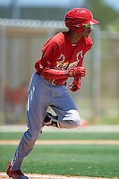 GCL Cardinals shortstop Delvin Perez (23) runs to first during the second game of a doubleheader against the GCL Marlins on August 13, 2016 at Roger Dean Complex in Jupiter, Florida.  GCL Cardinals defeated GCL Marlins 2-0.  (Mike Janes/Four Seam Images)