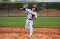Parrish Jacobi (5) of Greensboro, North Carolina during the Baseball Factory All-America Pre-Season Rookie Tournament, powered by Under Armour, on January 13, 2018 at Lake Myrtle Sports Complex in Auburndale, Florida.  (Michael Johnson/Four Seam Images)