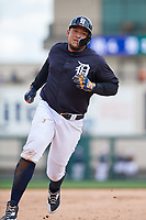 Detroit Tigers first baseman Miguel Cabrera (24) runs the bases during a Grapefruit League Spring Training game against the New York Yankees on February 27, 2019 at Publix Field at Joker Marchant Stadium in Lakeland, Florida.  Yankees defeated the Tigers 10-4 as the game was called after the sixth inning due to rain.  (Mike Janes/Four Seam Images)