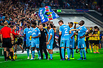 09.08.2019, Merkur Spiel-Arena, Düsseldorf, GER, DFB Pokal, 1. Hauptrunde, KFC Uerdingen vs Borussia Dortmund , DFB REGULATIONS PROHIBIT ANY USE OF PHOTOGRAPHS AS IMAGE SEQUENCES AND/OR QUASI-VIDEO<br /> <br /> im Bild | picture shows:<br /> Trinkpause | Spielunterbrechung, <br /> <br /> Foto © nordphoto / Rauch