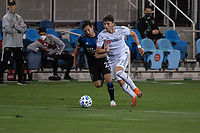 SAN JOSE, CA - NOVEMBER 04: Carlos Fierro #21 of the San Jose Earthquakes chases Tristan Blackmon #27 of the Los Angeles FC during a game between Los Angeles FC and San Jose Earthquakes at Earthquakes Stadium on November 04, 2020 in San Jose, California.