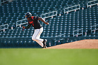 Derrick Newman (2) of Bishop O'Connell High School in Fort Washington, Maryland during the Under Armour All-American Pre-Season Tournament presented by Baseball Factory on January 14, 2017 at Sloan Park in Mesa, Arizona.  (Freek Bouw/MJP/Four Seam Images)