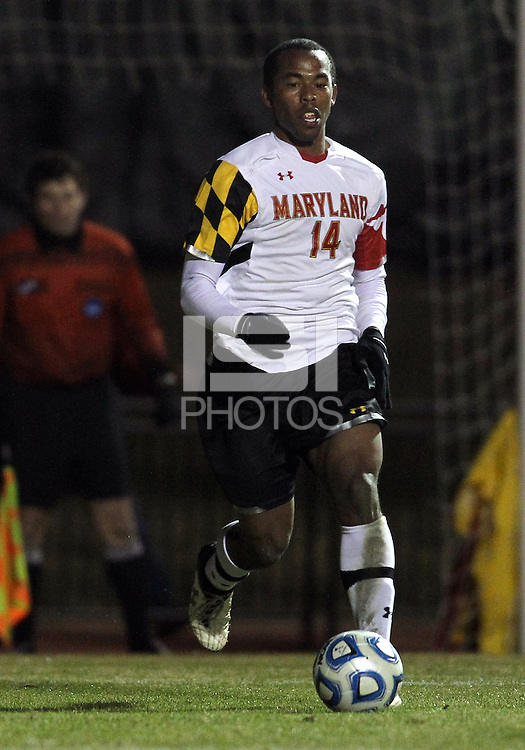 COLLEGE PARK, MD - NOVEMBER 25, 2012: Jordan Cyrus (14) of the University of Maryland  against  Coastal Carolina University during an NCAA championship third round match at Ludwig Field, in College Park, MD, on November 25. Maryland won 5-1.