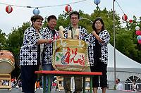 August 11 2012 - Montreal (Qc) Canada - Matsuri Japon Festival 11th edition.<br /> <br /> Kagami-biraki  : Traditional sake barrel opening ceremony of Matsuri Japon 2012 by (L to R) : <br /> Mme. Mary Deros, Conseillere municipale, Villeray-Saint-Michel-Parc-Extension<br /> Mr. Alan Itakura, President, JCCCM<br /> Mr.Tatsuo Arai, Consul Général du Japon<br /> Mme. Jennifer Sakai, Presidente, Matsuri Japon<br /> <br /> <br /> Matsuri Japon is a free event promoting Japanese culture to the general public.