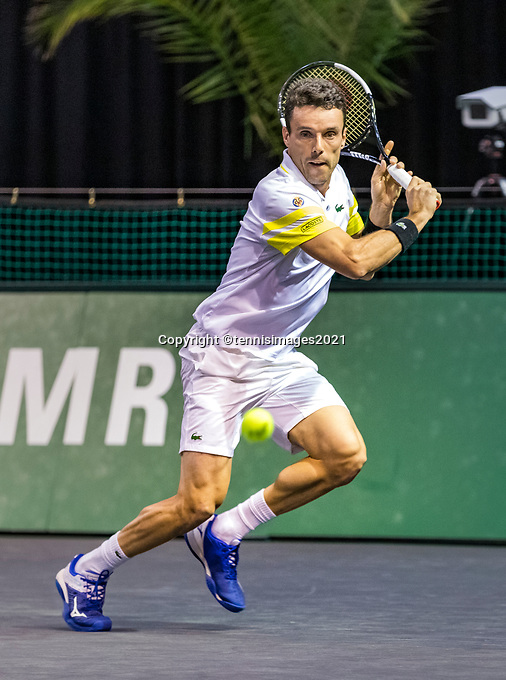 Rotterdam, The Netherlands, 3 march  2021, ABNAMRO World Tennis Tournament, Ahoy, First round singles: Roberto Bautista Agut (ESP).<br /> Photo: www.tennisimages.com/henkkoster