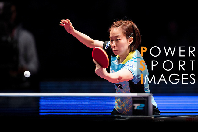 Yuling Zhu of China vs Kasumi Ishikawa of Japan at their Women's Singles Semi Final match during the Seamaster Qatar 2016 ITTF World Tour Grand Finals at the Ali Bin Hamad Al Attiya Arena on 10 December 2016, in Doha, Qatar. Photo by Victor Fraile / Power Sport Images