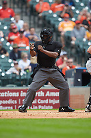 Home plate umpire Eric Goshay calls a strike in the game between the Kentucky Wildcats and Sam Houston State Bearkats during game four of the 2018 Shriners Hospitals for Children College Classic at Minute Maid Park on March 3, 2018 in Houston, Texas. The Wildcats defeated the Bearkats 7-2.  (Brian Westerholt/Four Seam Images)