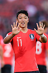 Hwang Heechan of South Korea (R) celebrates after scoring his goal during the AFC Asian Cup UAE 2019 Round of 16 match between South Korea (KOR) and Bahrain (BHR) at Rashid Stadium on 22 January 2019 in Dubai, United Arab Emirates. Photo by Marcio Rodrigo Machado / Power Sport Images
