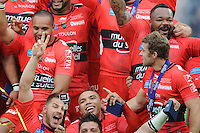 Bryan Habana of RC Toulon takes a selfie as RC Toulon celebrate becoming the first champions of Europe three years in a row after a 24-18 win over Clermont.