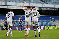 Brad Walker of Shrewsbury Town and Ethan Ebanks-Landell of Shrewsbury Town celebrating Shrewsbury Town win during AFC Wimbledon vs Shrewsbury Town, Sky Bet EFL League 1 Football at The Kiyan Prince Foundation Stadium on 17th October 2020