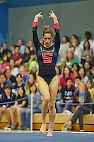 LOS ANGELES, CA - February 5, 2012:  Stanford's Nicole Pechanec during competition against the UCLA Bruins at the Wooden Center.   UCLA defeated Stanford, 197.250 - 196.450.