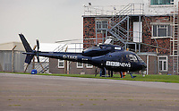 Pictured: BBC News HD helicopter. 16 September 2011<br /> Re: Aerial photography, Swansea, south Wales.