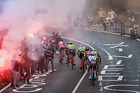 the breakaway group up the smoke & tifosi-packed Capo Berta (38 km's before the finish)<br /> <br /> 108th Milano - Sanremo 2017