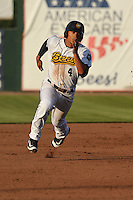 Burlington Bees Michael Hermosillo (4) runs toward third base during the Midwest League game against the Peoria Chiefs at Community Field on June 9, 2016 in Burlington, Iowa.  Peoria won 6-4.  (Dennis Hubbard/Four Seam Images)