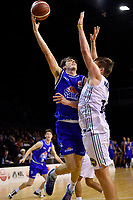 Kael Robinson of the Wellington Saints shoots the ball during the NBL match between the Wellington Saints and the Auckland Huskies at TSB Bank Arena, Wellington, New Zealand on Friday 28 May 2021.<br /> Photo by Masanori Udagawa. <br /> www.photowellington.photoshelter.com